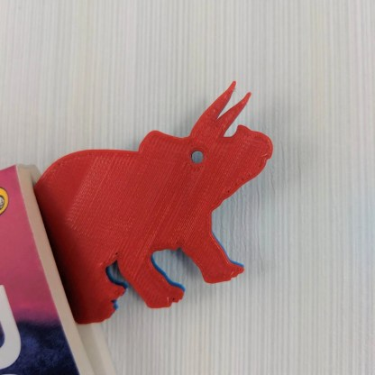 Dinosaur Bookmark 1 in Blue and Red