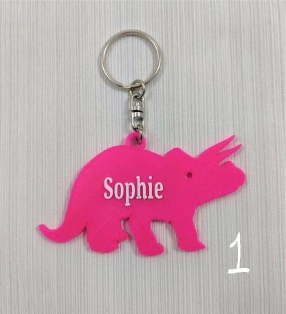 Triceratops dinosaur keyring in pink