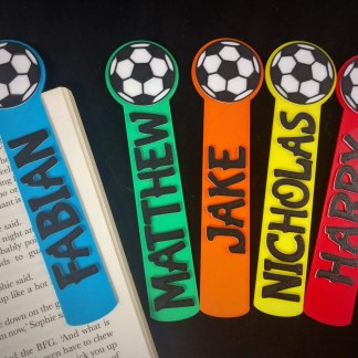 Personalised football bookmarks in various colours