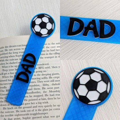 Personalised football bookmark in blue