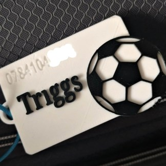 personalised football luggage tag