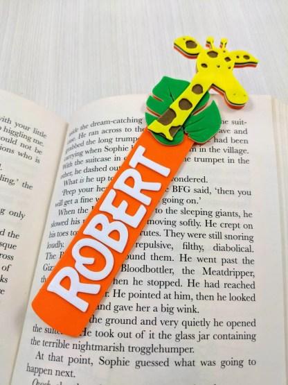 Giraffe themed Bookmark in Orange