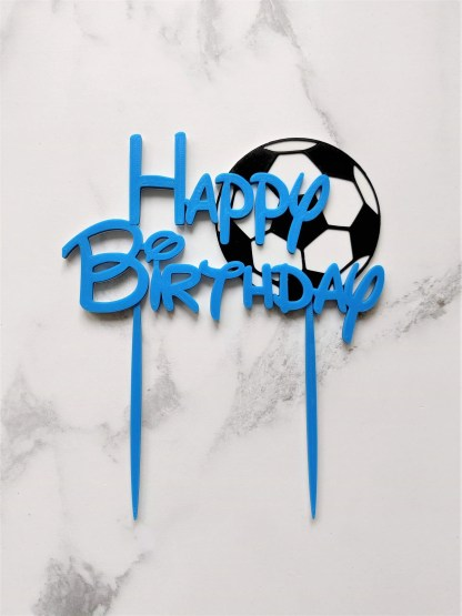 Reusable football Happy Birthday Cake Topper 1