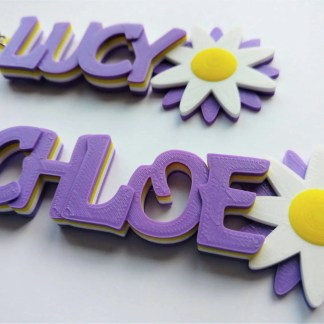 Personalised flower keyrings in colour change purple/pink