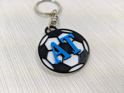 Personalised football keyring with initials