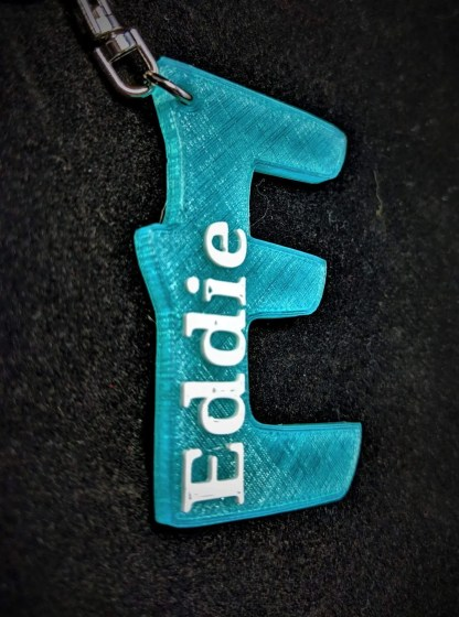 Keyring with name and initial letter in crystal blue