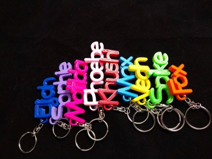 Personalised keyrings in various colours