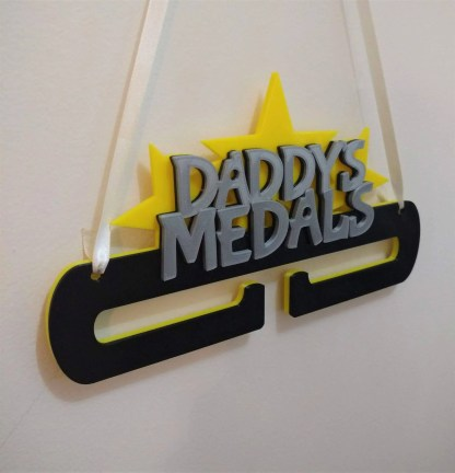 Personalised Medal holder - name in stars - black and yellow
