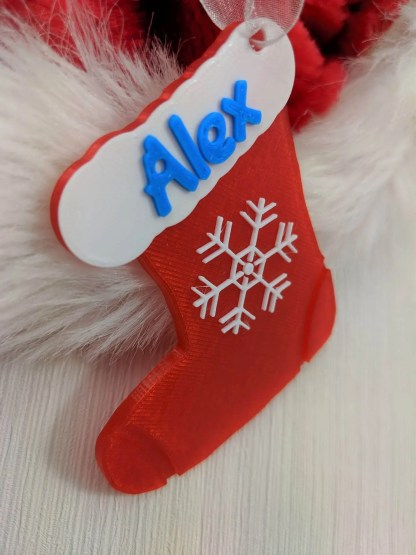 personalised Christmas tree decoration - stocking