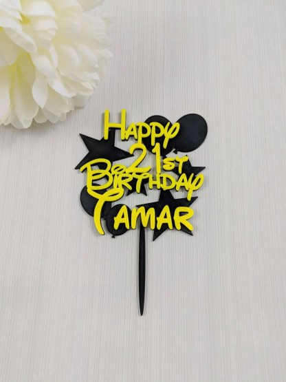 Cake topper with name age, stars and balloons