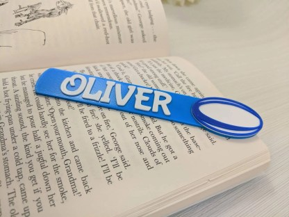 Rugby bookmark with name in blue