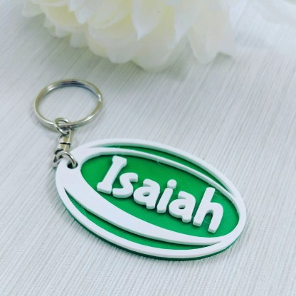 Personalised Rugby Keyring in White and Green