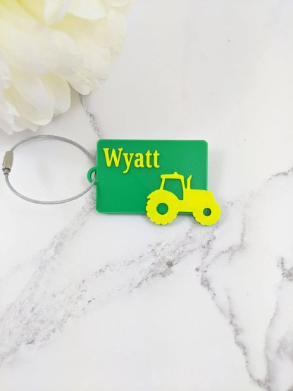 Custom made luggage tag in green and yellow