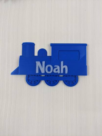 Train themed door sign with name - in Blue and glow in dark