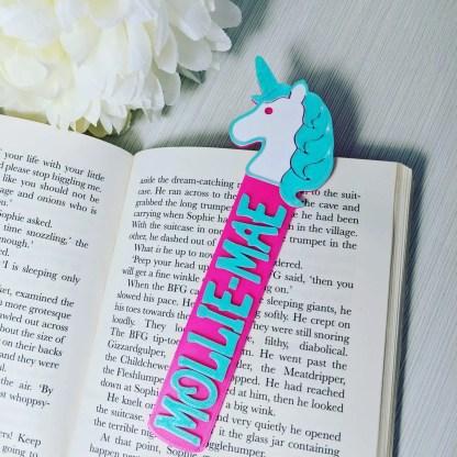 Unicorn themed bookmark