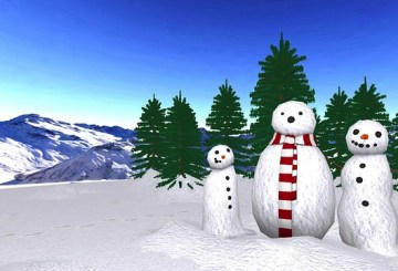 Snow expected image of Snowmen - three all dressed up for a party