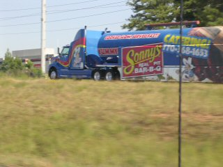 Tanker truck painted up to advertise Sonny's Barbeque
