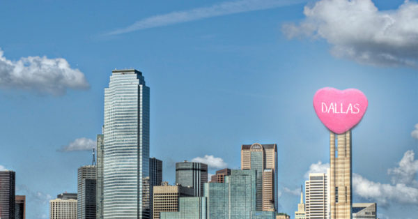 Dallas Skyline with heart