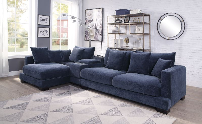 acme 55205 elika blue sectional sofa free delivery