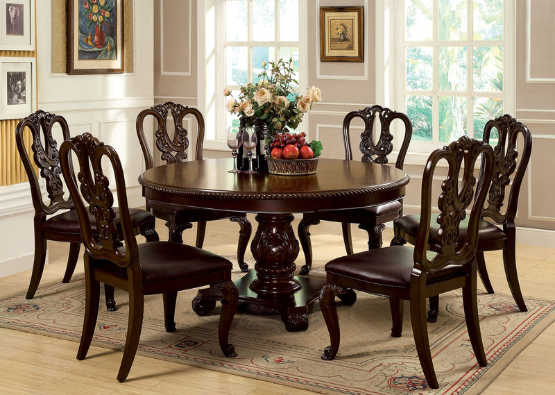 Furniture Of America CM3319RT Bellagio Formal Dining Room Set With Round Table Dallas