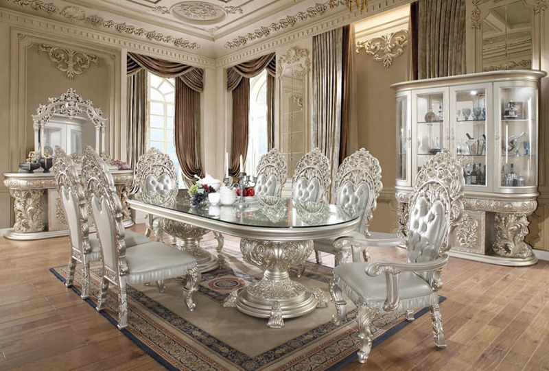 Homey Design Hd 8088 Long Prosper Formal Dining Room Set
