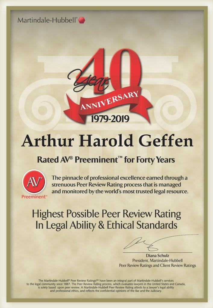 A+ AV Preeminent for 40 Years