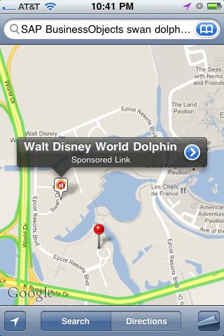 iPhone Map Walt Disney World SBOUC