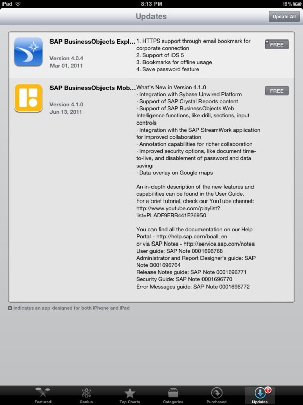 Apple iTunes Store Updates for SAP BusinessObjects