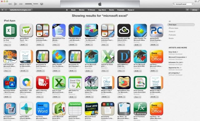 Microsoft Excel in iTunes App Store