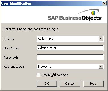 Desktop Intelligence XI 3.1 Log In Screen