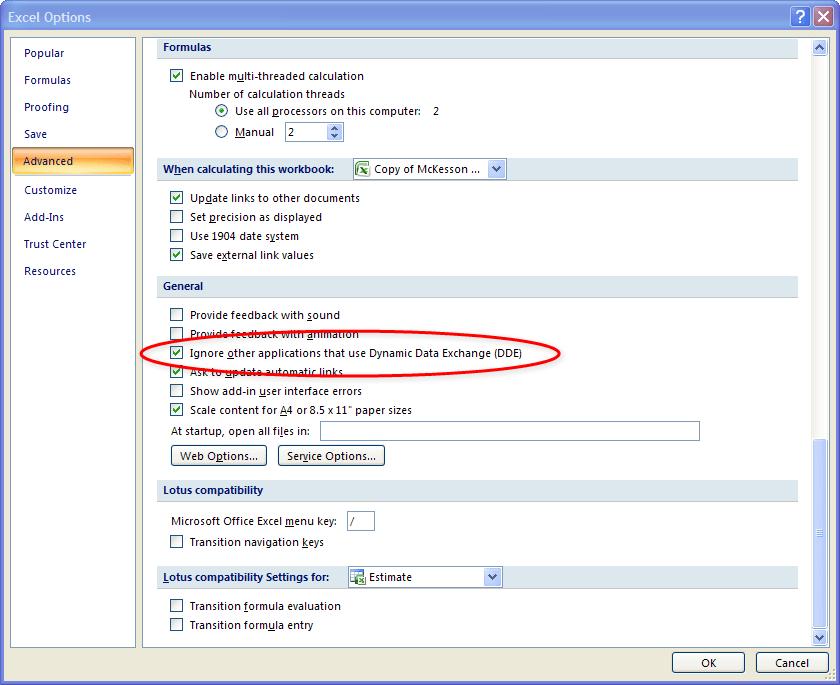 Xcelsius Excel DDE Fix