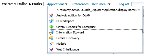 Explorer on Application Menu