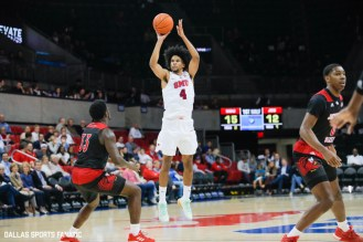 SMU guard Charles Smith IV takes a shot during the game between SMU and Jacksonville State on November 5, 2019 at Moody Coliseum in Dallas, Tx. (Photo by Joseph Barringhaus/Dallas Sports Fanatics)