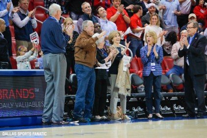 President George W Bush stands for an applause during the game between SMU and Jacksonville State on November 5, 2019 at Moody Coliseum in Dallas, Tx. (Photo by Joseph Barringhaus/Dallas Sports Fanatics)