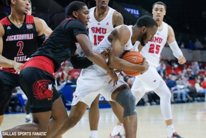 Players fight for the ball in the paint during the game between SMU and Jacksonville State on November 5, 2019 at Moody Coliseum in Dallas, Tx. (Photo by Joseph Barringhaus/Dallas Sports Fanatics)