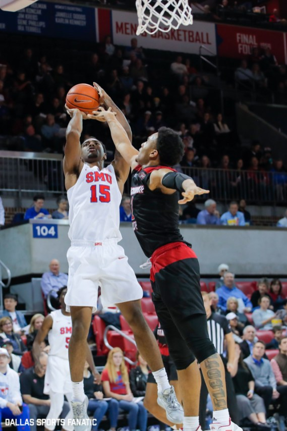 SMU forward Isiaha Mike takes a shot during the game between SMU and Jacksonville State on November 5, 2019 at Moody Coliseum in Dallas, Tx. (Photo by Joseph Barringhaus/Dallas Sports Fanatics)