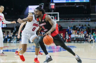 Jacksonville State guard Ty Hudson drives the basket during the game between SMU and Jacksonville State on November 5, 2019 at Moody Coliseum in Dallas, Tx. (Photo by Joseph Barringhaus/Dallas Sports Fanatics)