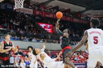 Jacksonville State guard De'Torrion Ware commits a foul during the game between SMU and Jacksonville State on November 5, 2019 at Moody Coliseum in Dallas, Tx. (Photo by Joseph Barringhaus/Dallas Sports Fanatics)