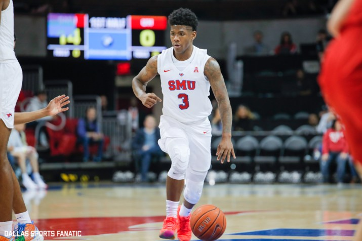 SMU guard Kendric Davis dribbles down the court during the first half of the game between Southern Methodist University and Hartford on November 27, 2019 at Moody Coliseum in Dallas, Tx. (Photo by Joseph Barringhaus/Dallas Sports Fanatics)