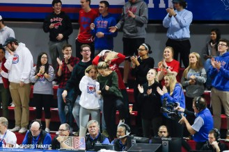 The SMU student section celebrates after an SMU alley-oop during the game against Northwestern State on December 3, 2019 at Moody Coliseum in Dallas, Tx. (Photo by Joseph Barringhaus/Dallas Sports Fanatic)