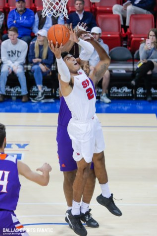 SMU forward Everett Ray goes up for a basket during the second half of the game against Northwestern on December 3, 2019 at Moody Coliseum in Dallas, Tx. (Photo by Joseph Barringhaus/Dallas Sports Fanatic)