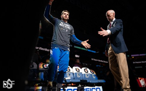 Luka Doncic is introduced as the Dallas Mavericks take on the Los Angeles Clippers, on January 21, 2020, at American Airlines Center in Dallas, Tx. (Photos by Michael Lark/Dallas Sports Fanatic)