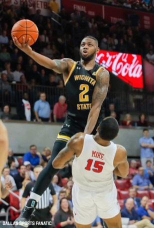 Wichita State guard Jamarius Burton (2) goes up for a basket during the American Athletic Conference college basketball game between the SMU Mustangs and the Wichita State Shockers on March 1, 2020 at Moody Coliseum in Dallas, Texas. (Photo by Joseph Barringhaus/Dallas Sports Fanatic)