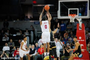 SMU guard Tyson Jolly (0) takes a shot during the American Athletic Conference college basketball game between the SMU Mustangs and the Wichita State Shockers on March 1, 2020 at Moody Coliseum in Dallas, Texas. (Photo by Joseph Barringhaus/Dallas Sports Fanatic)