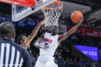 SMU guard Emmanuel Bandoumel goes up for a basket during the game between SMU and Jacksonville State on November 5, 2019 at Moody Coliseum in Dallas, Tx. (Photo by Joseph Barringhaus/Dallas Sports Fanatic)
