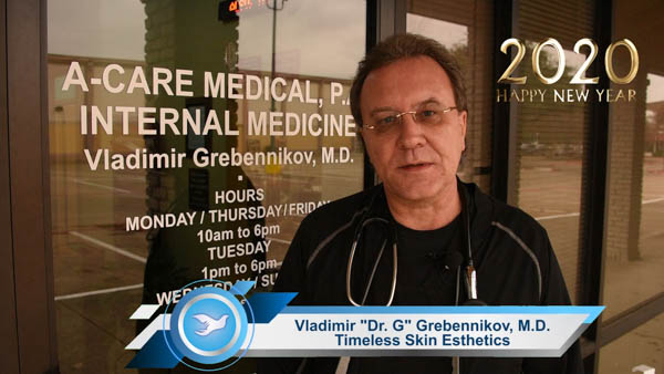 """Vladimir """"Dr. G"""" Grebennikov: 🎄 To all my patients, my friends, my family, and Dallas population. 🎄 Happy New Year, Happy Hanukkah and Merry Christmas, of course. It's been a very, very, very complicated year. 🎄 It wasn't easy. Not easy for everyone — there was a whole bunch of natural disasters, whole bunch of crime and, unfortunately, our nation became more divided. 🎄 But this year is over. It's going to go away. And the New 2020 gonna finally hit us... 🎄 I really hope that is going to be A Much Better Year. 🎄 I wish all of you — wisdom. I wish all of you love and good health! 🎄 Let's celebrate this New 2020 Year! #TimelessSkinEsthetics #TimelessSkinEsthetics_DT #DrVladimirGrebennikov #DrVladimirGrebennikov_DT #TheDallasTelegraph #RussianDallas #RussianTexas #РусскийДаллас #РусскийТехас #ПоехалиВТехас #RussianDallasChritmasGreeting"""