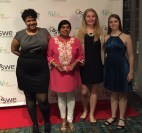 Nandika D'Souza, PH.D (2nd from left) with SMU students Bria Miles, Morgan Reiner, and Jordan Kayse