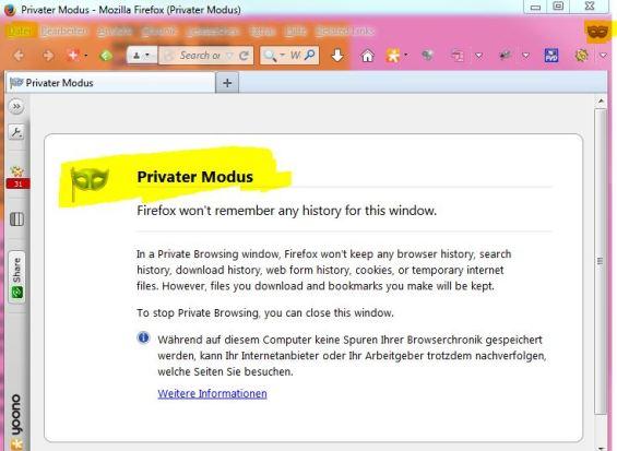 Firefox: Anonym Surfen