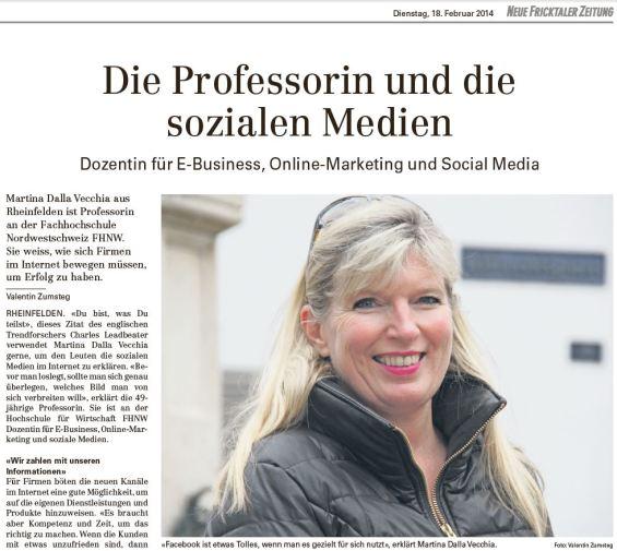 Neue Fricktaler Zeitung: Die Professorin und die sozialen Medien