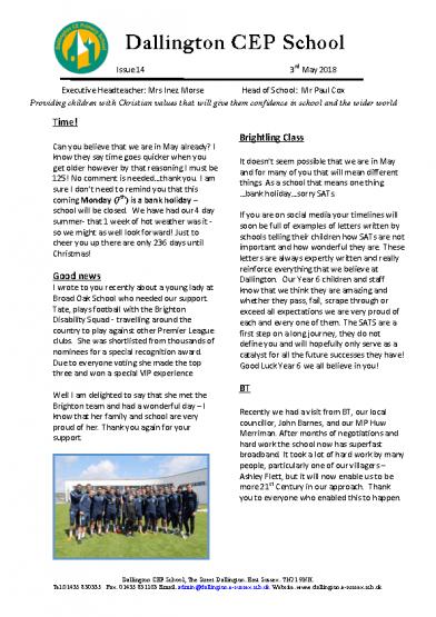 Newsletter 1403/05/2018
